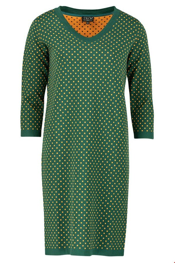 Dress V neck dots forest