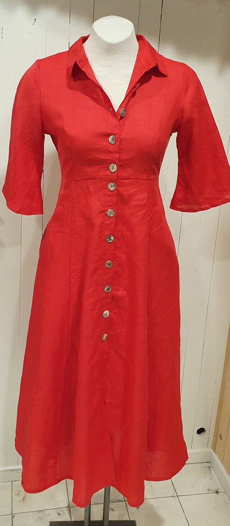 Tasara dress linnen, rood