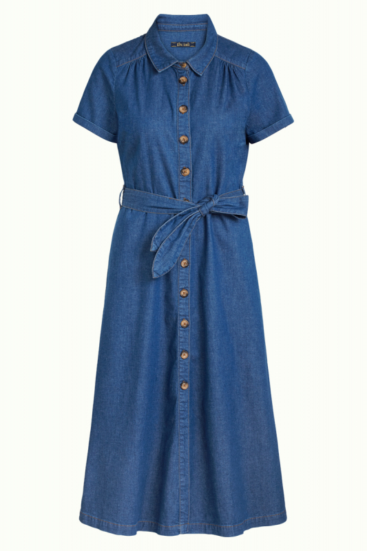 Olive dress Chambray korte mouwen